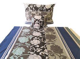 Szürke - fehér virágos 3 részes ágynemű huzat szett 140x220 cm