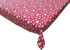 Piros alapon fehér karácsonyfás asztalterítő 130x160 cm 100% pamut