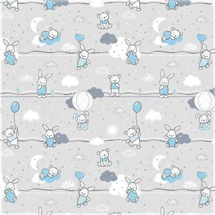 80 cm széles pamut tetra - textil pelenka méteráru - szürke alapon nyuszi - maci mintával.
