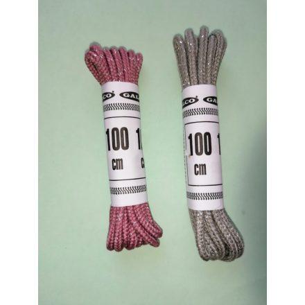 Ezüst lux szálas cipőfűzők 2 mm átmérőjű 100 cm hosszúak