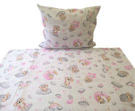 Halvány rózsaszín alapon aranyos nyuszi mintás 2 részes ágynemű huzat