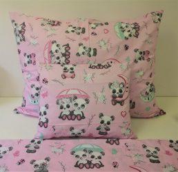 Rózsaszín alapon édes panda mintával 3 részes ágyneműhuzat 140x200 cm