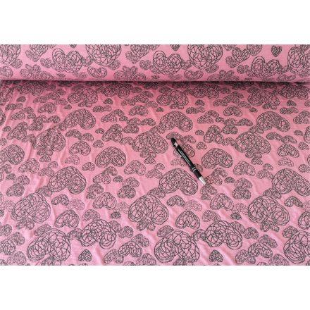 Rózsaszín  - szürke szíves jaquard textil - 160 cm
