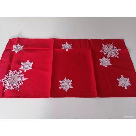 Piros alapon karácsonyi mintás terítő 50x100 cm