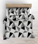140x220 krepp ágynemű 3 részes pink színű virágos szíves mintával