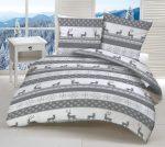 Szürke - fehér szarvas - hópehely mintás ágynemű huzat szett