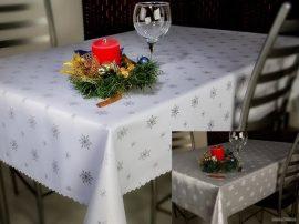 Ezüst hópihe mintás kétoldalas asztalközép 40x80 cm