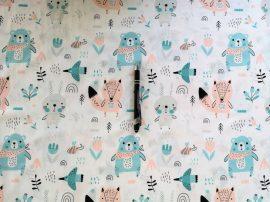 Menta zöld panda macis pamutvászon