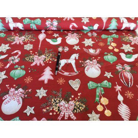 Pamutvászon méteráru - bordó alapon karácsonyi díszek