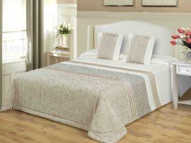 3 részes ágytakaró szett barna-drapp hímzett virágos 200x220 cm