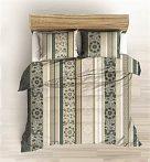 Drapp alapon fehér - barna virágos 5 részes ágynemű huzat szett