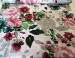 Vékony pamut textil halvány drapp színű masnis mintás 160 cm széles.