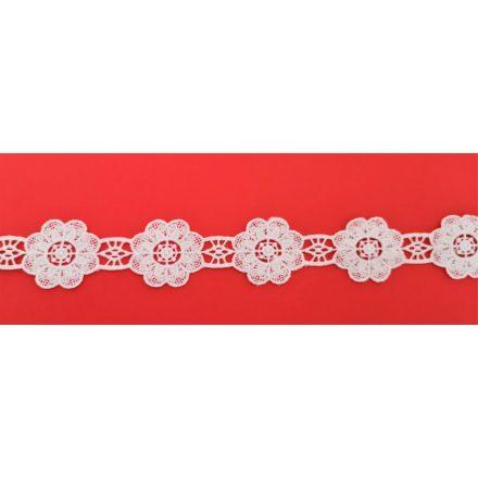 Ekrü színű  csipkeszalag virág motívummal - 40 mm