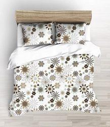 Fehér alapon barna csillag - virág mintás ágynemű huzat 140x200 cm