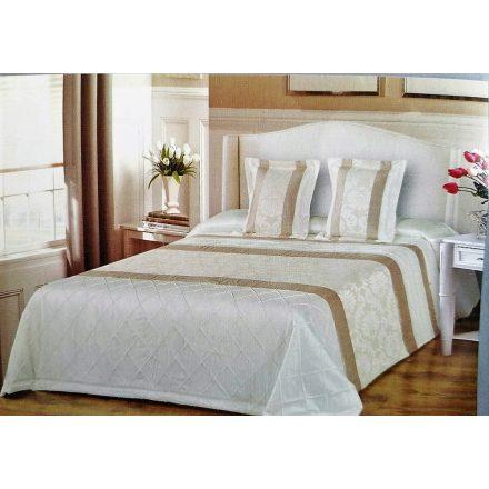 Ágytakaró szett 3 részes kivitelben 200x220 cm - krémszínű barokk - steppelt mintával