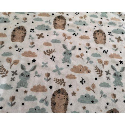 Flanel textil - méteráru barack nyuszis - 160 cm