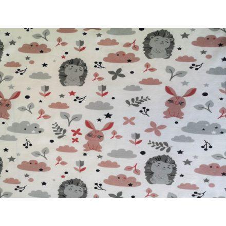 Süni - nyuszi mintás rugalmas pamut jersey textil - 165 cm