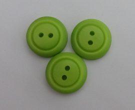 Zöld színű, két lyukú, műanyag gomb, ¤ 15 mm