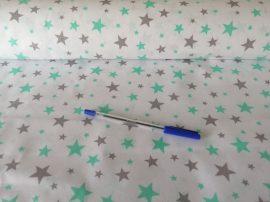Szürke - menta zöld csillagos pamutvászon 160 cm széles