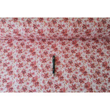 Narancs színű virágos rugalmas farmer hatású textil 150 cm széles