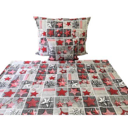 Karácsonyi csillagos 3 részes ágynemű huzat szett - szürke - piros