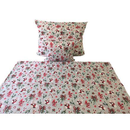 Karácsonyi mintás 3 részes ágynemű huzat szett - szürke fagyöngy