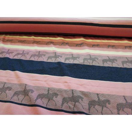 Viscose jersey rózsaszín - sötétkék csíkos - lovas mintával - 170 cm