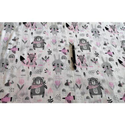 Tetra - textil pelenka méteráru - rózsaszín - szürke erdei állatos
