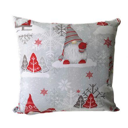 Karácsonyi manó mintás díszpárna