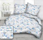 3 részes ágynemű huzat szett - kék - fehér manós 140x200 cm