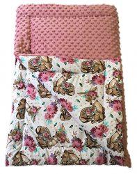 Fehér minky - rózsaszín unikornis virág mintás kétoldalas baba takaró