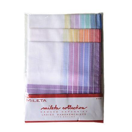 Ruha zsebkendő szett  6 db-os  fehér alapon csíkos