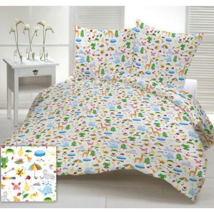 100% pamut ágynemű huzat garnitúra 140x200 cm színes esernyő - állat mintás