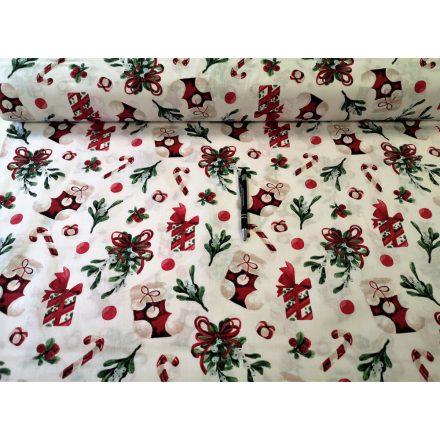 Fehér karácsonyi fagyöngy mintás pamutvászon