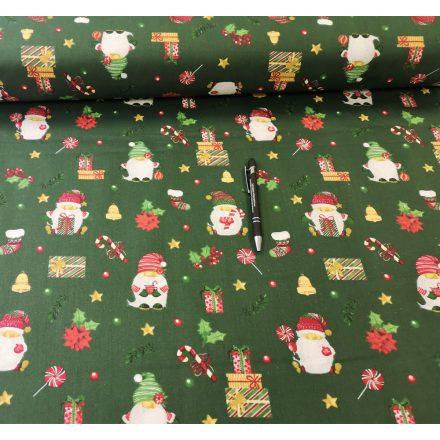 Apró karácsonyi mintás pamutvászon - zöld