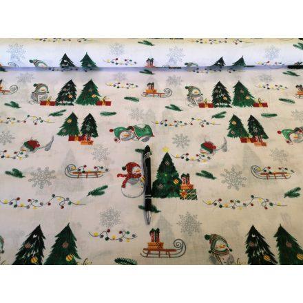 Hóember - fenyőfa mintás karácsonyi pamutvászon textil - fehér