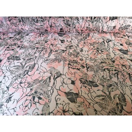 Rózsaszín - szürke virág mintás muszlin méteráru -  140 cm
