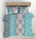 Fehér alapon kék - bézs rózsa mintás 5 részes ágynemű huzat 200x220 cm