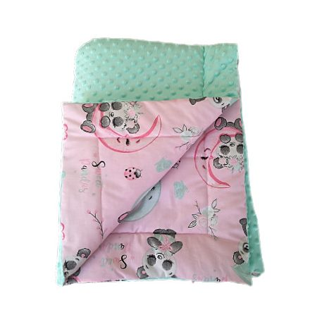 Kétoldalas baba takaró menta - rózsaszín panda  75x100 cm