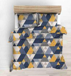 3 részes pamut ágynemű extra hosszú140x220 cm - vidám kék.