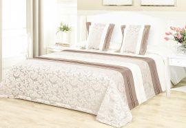 Faleveles arany - drapp ágytakaró szett 200x220