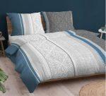 100% pamut 3 részes ágynemű huzat garnitúra 140x220 cm szürke - kék szíves