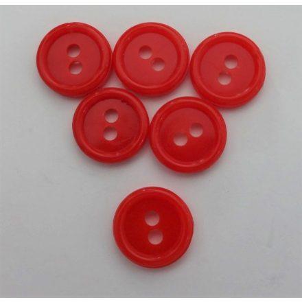 Piros, két lyukú, műanyag gomb, ¤ 12 mm.