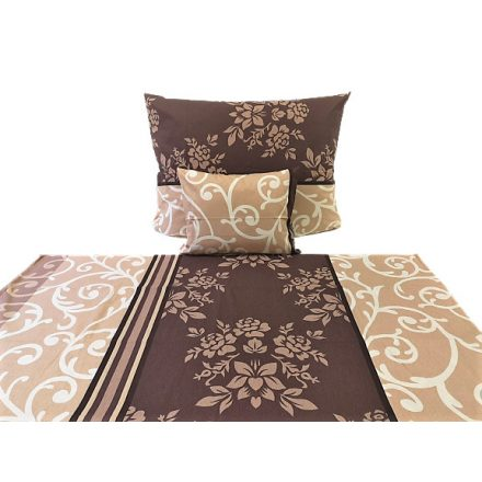 100% pamut ágyneműhuzat 140x220 cm-es barna csillag - virág
