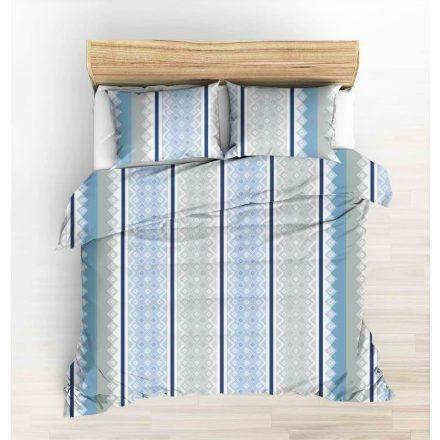 5 részes ágynemű 200x220 cm szürke modern mintás kék csikkal