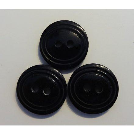 Műanyag gomb, két lyukú, fekete színű ¤ 18 mm