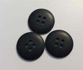Fekete műanyag gomb, négy lyukú ¤ 18 mm