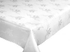 Terítő, asztalterítő 140x180 cm fehér szürke virágos