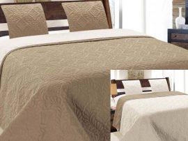 3 részes kétoldalas ágytakaró szett  dekoratív bézs - ekrü színű - 220x240 cm