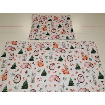 2 részes gyermek ágynemű garnitúra - erdei süni - mókus - nyuszi mintás